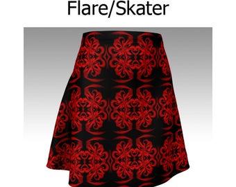 Red Skirt, Red and Black, Pattern Skirt, Flare Skirt, Skater Skirt, Fitted Skirt, Bodycon Skirt, Fancy Skirt, Cute Skirt, Short Skirt, Women