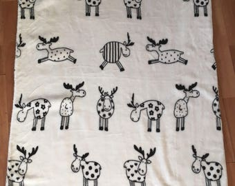 Buck deer black and white minky baby blanket