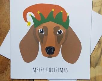 Christmas Cards, Daschund Card, Funny Christmas Card, Dog Christmas Cards, Cute Holiday Card, Sausage Dog art, Merry Christmas, Weiner dog