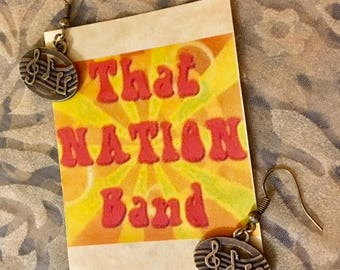 That NATION Band Bass Bronze Oval Musical Notes Earrings