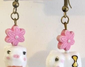 Cute Porcelain Misfit Pig Earrings