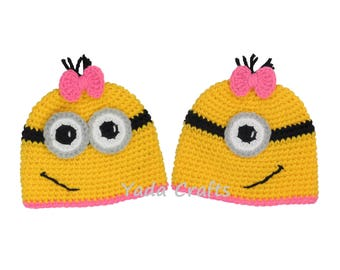 Minion Inspired Beanie Minion Costume Halloween costume Despicable Me Minion Beanie Hat Crochet Minion hat Baby Toddler halloween outfits