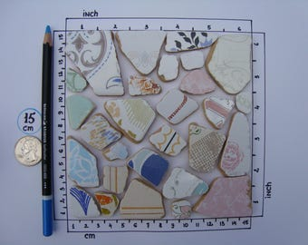CEAP Sea Pottery-28 sea pottery pieces not perfect-floral design-mosaic-italian ceramic teal-craft supplies