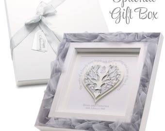Silver Wedding Frame. Personalised Quote. 25th Anniversary Gift. Family Tree. Parents 25th Anniversary Gift. Optional Luxury Gift Box