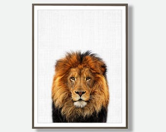 Lion Print, Modern Printable, Lion Wall Art, Lion Poster, Safari Prints, Printable Large Poster, Nursery Print, Kids Wall Art, Download Art