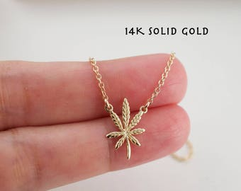 14K gold Cannabis necklace - solid 14K yellow gold - marijuana necklace - 420 necklace - leaf necklace- weed necklace -