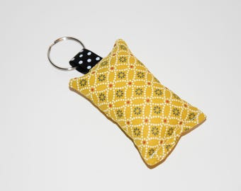 Keychain fabric - geometric patterns and flowers - tones multicolors - gift idea