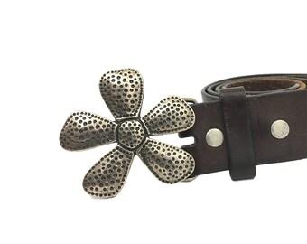 Asterisks Flower Buckle for Men Women / VTG Asterisk Plate Belt Buckle / Vintage Buckles Mens Womens Silver Floral Buckle