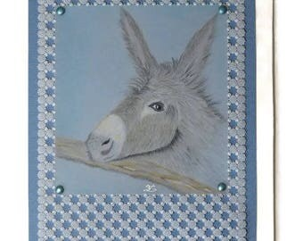 "Card paper lace Pergamano ""Donkey"""