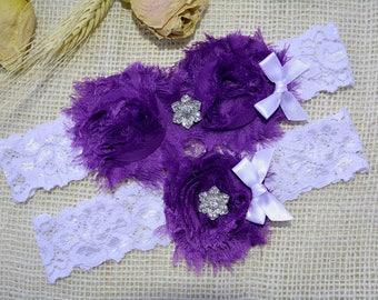Purple Garter, Purple Bridal Garter, Crystal Garter Set, Garter Set White, Keep Garter, Bridal Clothing, Lingerie Garter, Purple Toss Garter