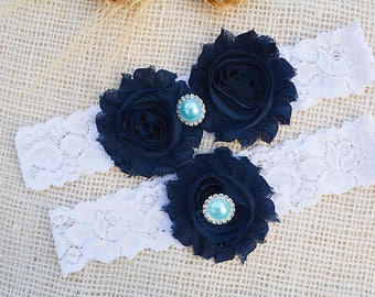 Wedding Garters, Wedding Garter Set, Wedding Garter Blue, Shabby Chic Garter, Toss Garter Blue, Navy Garter Set, Dark Blue Bridal, Garters
