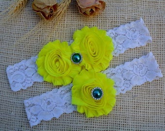 Garter Wedding, Yellow Garter Set, Brides Garter, Yellow Wedding Gift, Brides Garters, Bridal Clothing, Yellow Lingerie, White Lace Garter