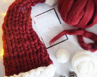Santa Hat Knitting Set, knit your own Christmas Hat, DIY Santa Hat, Chunky Knit Kit, How to Knit, Christmas gift, chunky knitting pattern