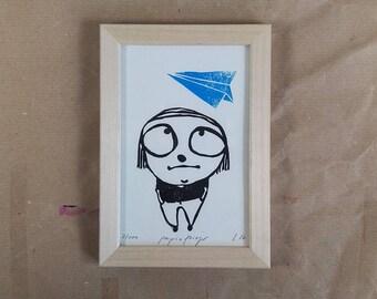 Linocut print paper airplane