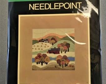 Needlepoint Longstitch Vintage Kit Autumn Barn Trees