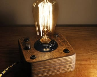 Edison Lamp,Industrial Lamp, Steampunk Lamp,Wooden Edison Lamp ,Night Lamp,