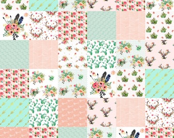 Private listing for Heather Pusok Baby girl crib quilt, floral cactus nursery baby bedding, cactus nursery, girl baby blanket