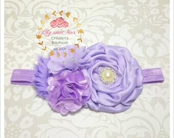 Lavender shabby flower baby headband, preemie lavender shabby flower elastic headband