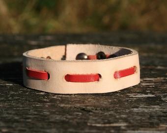 Genuine leather, red, handmade / Handmade Leather bracelet red