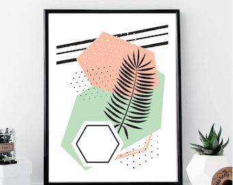 Memphis Style Tropical Print // Minimalist // Art // Typography // Fashion // Scandinavian Poster // Boho // Modern Office