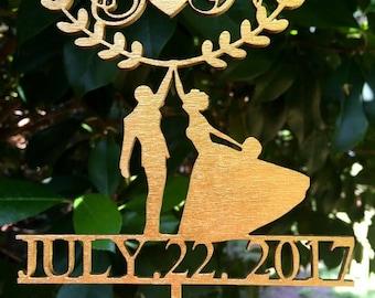 Gold Wedding Cake Topper, Wedding Cake Decor, Wood  Topper - Gold Glitter Cake - Wedding Gift, Valentine Day Cake Topper