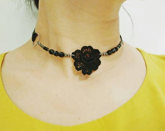 BLACK ROSE CHOKER -  Venice Lace Black Rose with Black and Matte Silver Faceted Glass Beads Ribbon Tie Choker