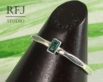 October Birthstone Tourmaline Baguette Cut Faceted Silver Ring, Rectangle Lab Synthetic Green Tourmaline Promise Ring 3x1.5 mm Tourmaline