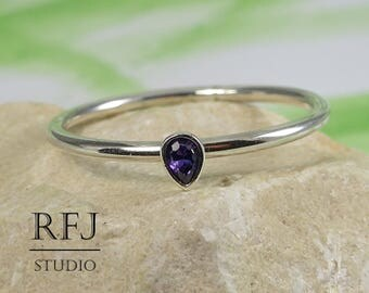 Pear Cut Lab Amethyst Silver Ring, Stacking February Birthstone Ring Teardrop Purple Cubic Zirconia 3x2 mm Thin Sterling Silver 925 Ring