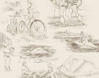 """Quilting Treasures Our National Parks Scene Toile CREAM - Hiking, Camping, Bikes 100% cotton Fabric by the yard 36""""x43""""  (QT13)"""