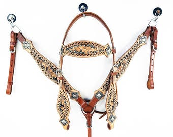 One Of A Kind Tooled Western Barrel Trail Horse Bridle Headstall Leather Breast Collar Tack Set