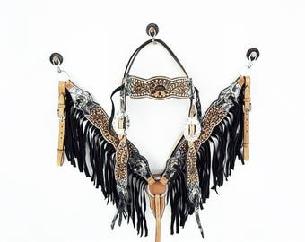 Western Barrel Trail Horse Floral Tooled Brocade Headstall Leather Bridle Breast Collar Fringe Tack Set