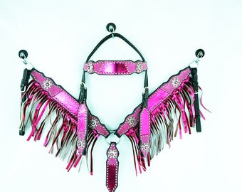 Handmade Western Barrel Trail Horse Metallic Pink Headstall Leather Bridle Breast Collar Plate Bling Tack Set