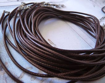 "Necklace Cord, 17.5"" Brown Waxed Cord + Lobster Clasp + Extension Chain, 2mm Necklace Cord, 1/5x Adjustable Round Necklace Cord"