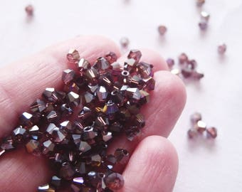 Purple Crystal Beads, 4mm AB Crystal Beads, Bicone Beads, Faceted Crystal Beads, Deep Purple Faceted Bicone Beads,  Glass Beads (B11)