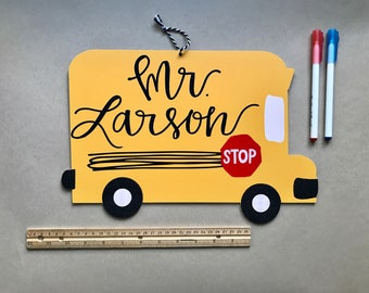 Personalized School Bus Teacher Sign
