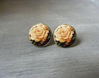 Boucles d'oreilles puces cabochon puce la rose Boucles d'oreilles rétro vintage, Boucles d'oreilles cabochon romantique