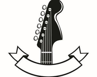 Guitar Logo 2 Banner Head Strings Musical Instrument Rock Music SVG EPS