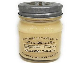 Summerlin Candle Company 8 Oz Soy Wax, Mason Jar Candle, Cedar wood Vanilla Scented