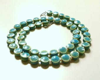 Necklace ceramic beads and freshwater beads/turquoise/mint colors/cream/short necklace/Christmas gift for you/delicate necklace/bead Genuine