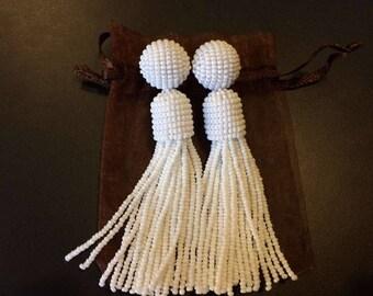 White tassel earrings Beaded Tassel oscar de la renta earrings Long tassel earrings beaded long seed bead earrings tassel long beaded