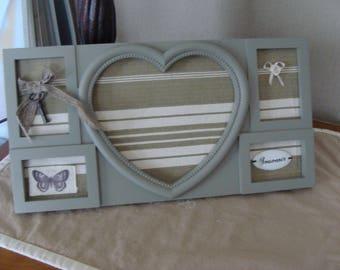 gray canvas mattress decoration shabby heart photo frame