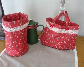 Small batch bag and empty Pouch Pocket to hang or lay Anais red floral cotton