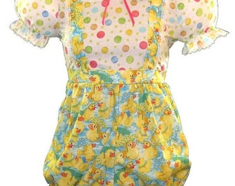 50% OFF SALE Clea CUSTOM Fit Baby Ducks & Polka Dots Adult Baby Romper Leanne