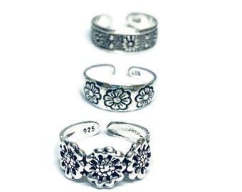 3 x  Flower Sterling Silver Toe Rings