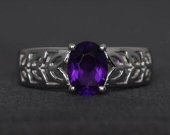 wedding ring natural amethyst sterling silver ring solitaire ring oval cut February birthstone ring purple gemstone