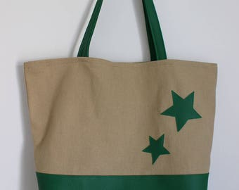 Cotton tote bag and faux green leather with stars