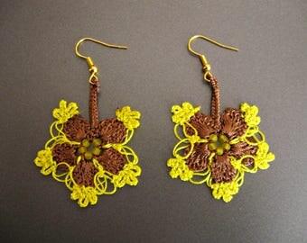 Yellow brown earrings Turkish oya earrings Turkish crochet earrings Seed beads earrings Yellow lace jewelry Flowers floral guipure earrings