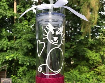 Kid's Drawing 16 oz Acrylic Tumbler, Child artwork gift, Glitter dipped, Unique Water bottle, Mom gift, Dad gift, Scribble, Kid's sketch art