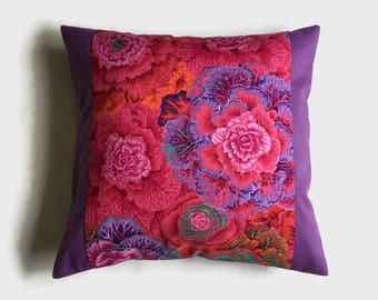 Kaffe Fassett Design, Pink & Lilac Throw Pillow, Designer Decor, Bedroom Decor, Home Decor, Throw Pillow, Birthday Gift, Housewarming Gift