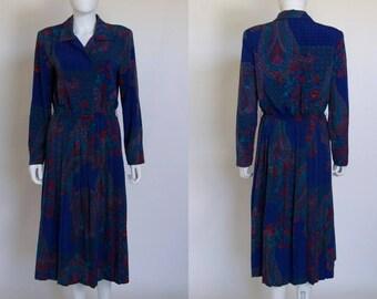 LESLIE FAY Dress, Career Dress, Dress Women, Pleated Skirt, Pleated Dress, Long Sleeve Dress, Vintage Clothing, Vintage Dress, Paisley Print
